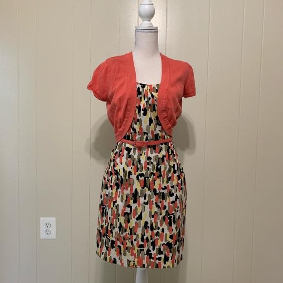 R&K Dresses & Skirts - R&K Coral/Tan/Black dress w/belt & pockets-Sz 12